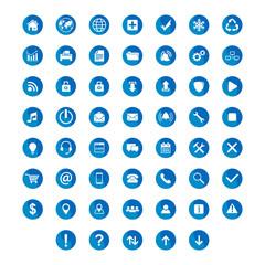 set flat icon circle blue