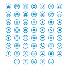 set icon flat with ring circle blue