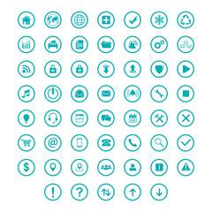 set icon flat with ring circle teal