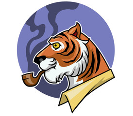 Vector illustration of tiger and smoking pipe