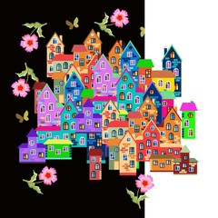 Bright colorful town with flowers on night and day background. Cartoon vector illustration.