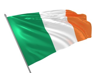 Flag of Ireland waving in the wind