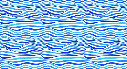 Vector abstract seamless pattern. Wave lines in blue tones on white background