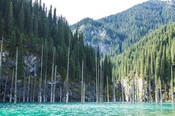 Kolsay mountain lake in Kazakhstan