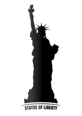 Black image of the Statue of Liberty. Statue of liberty icon isolated on white background. Vector illustration