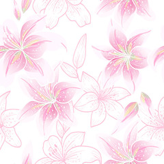 Lily on a white background.Vector seamless pattern