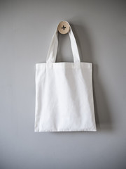 White Canvas Bag on Grey Background