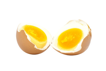 Boiled egg half cut with eggshell