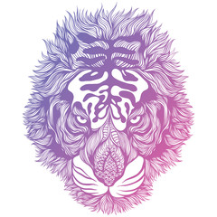 Psychedelic Abstract Tiger Head. Vector Illustration