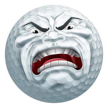 Angry Golf Ball Sports Cartoon Mascot