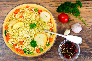 Tasty Chicken Soup with Chinese Noodles
