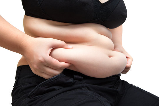 fat woman squeeze belly overweight on white isolated