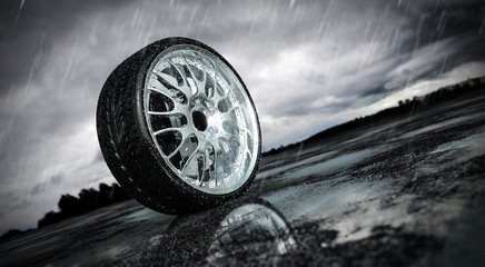 Raintire on wet tarmac