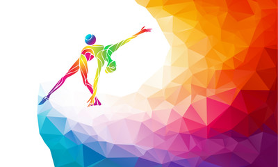 Gymnastics girl with ball in trendy abstract colorful polygon style