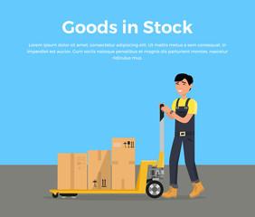 Goods in Stock Banner Design Flat