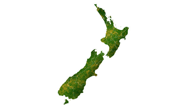 New Zealand country map detailed visualisation