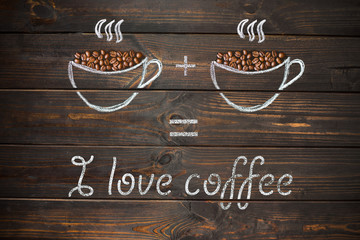 I love coffee concept - coffee beans, Cup of black coffee