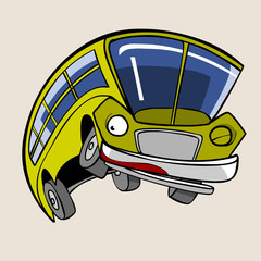 cartoon character cheerful yellow bus jump