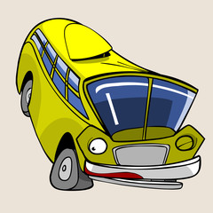 cartoon character cheerful yellow bus jumped