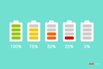 infographic shows the state of energy in the battery. Divided into five age range used by the display as a percentage., vector eps 10