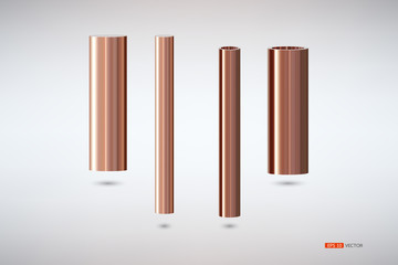 Two tons of copper pipes, hollow double bed size., Vector EPS 10