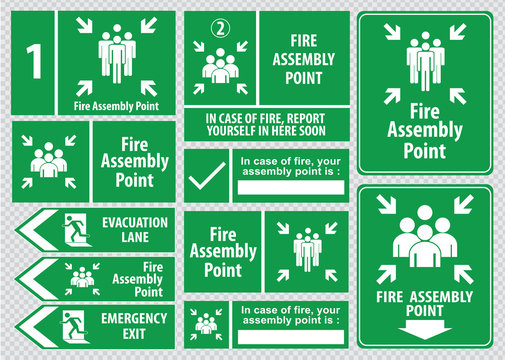 Set of emergency exit Sign (fire exit, emergency exit, fire assembly point, evacuation lane).