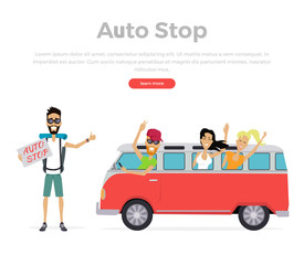 Autostop Concept on White