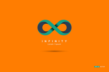 Or infinity symbol, green and blue on orange., Vector EPS 10