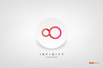 Infinity symbol, Infinity symbol, or mark a circle on the floor, flat on a white background., Vector EPS 10