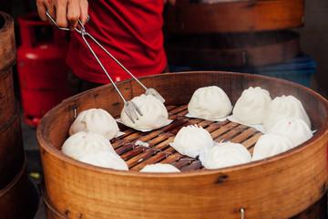 Steamed buns food stall in Chinatown, Kuala Lumpur, Malaysia