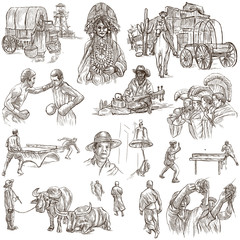 An hand drawn pack, collection - set of people