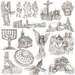 An hand drawn pack, collection - set of worship places