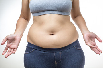 overweight woman with fat belly