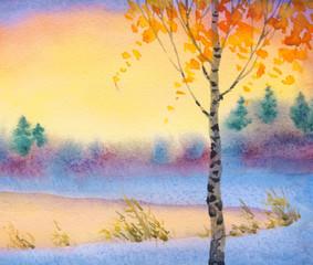 Watercolor winter landscape. Evening sky over lake