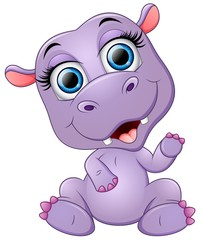 Happy cartoon hippo waving