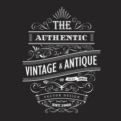 Vintage frame design western label blackboard typography border
