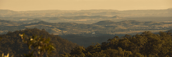 View from Mount Nebo during the afternoon near Brisbane, Queensland.