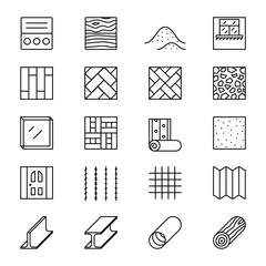 Obraz Building materials line vector icons - fototapety do salonu