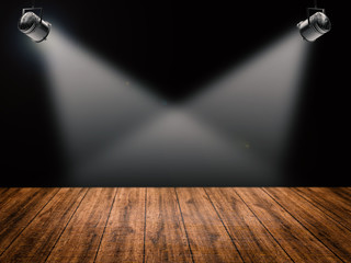 blank stage with shining spotlights