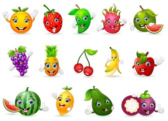 Funny various cartoon fruits