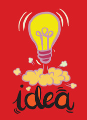 Hand drawing light bulb idea vector illustration