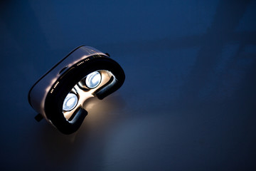VR virtual reality headset light up inside at night