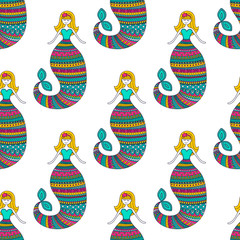 Cute mermaid. Vector seamless pattern with hand drawn doodle mermaid. Cute background for children. Bright color - pink, yellow, green, on white background.