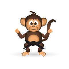 cute chimpanzee karate training black belt little monkey  eps10
