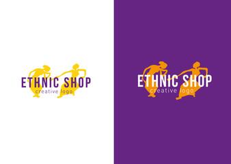 Logo ethnic store. Dancing girls