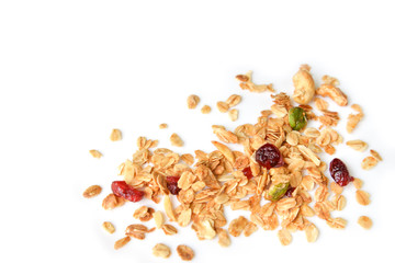 Homemade granola with honey, oatmeal, nuts raisin and cranberry on white background