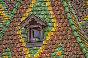 roof tiles with color in Obernai - Alsace - France