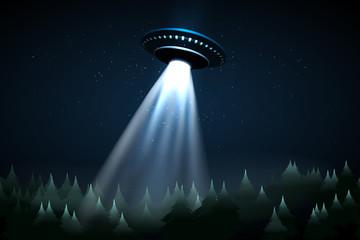 Flying UFO over night forest vector illustration
