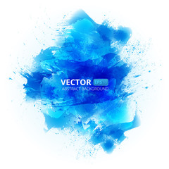 Abstract vector blue watercolor background