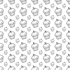 cupcake doodle background